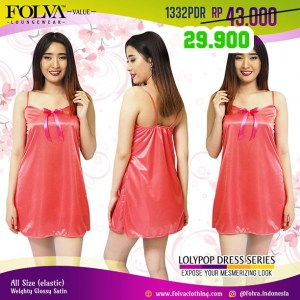 Baju dress bridesmaid satin tanktop babydoll pink 1332PDR by Folva